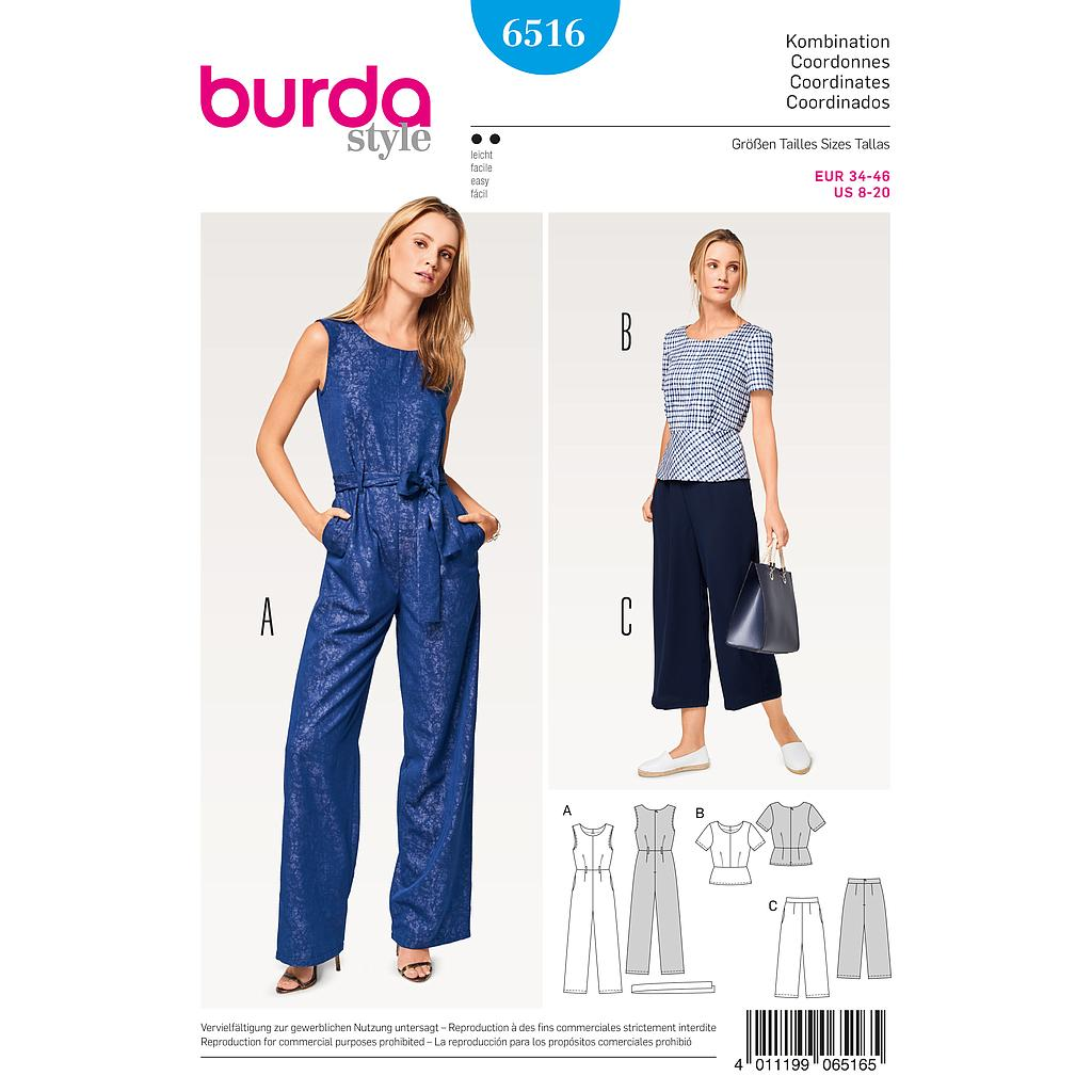 Patron Burda 6516 Ensemble dame