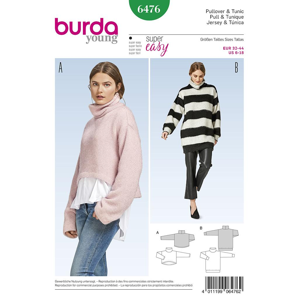 Patron Burda 6476 Pull & Tunique