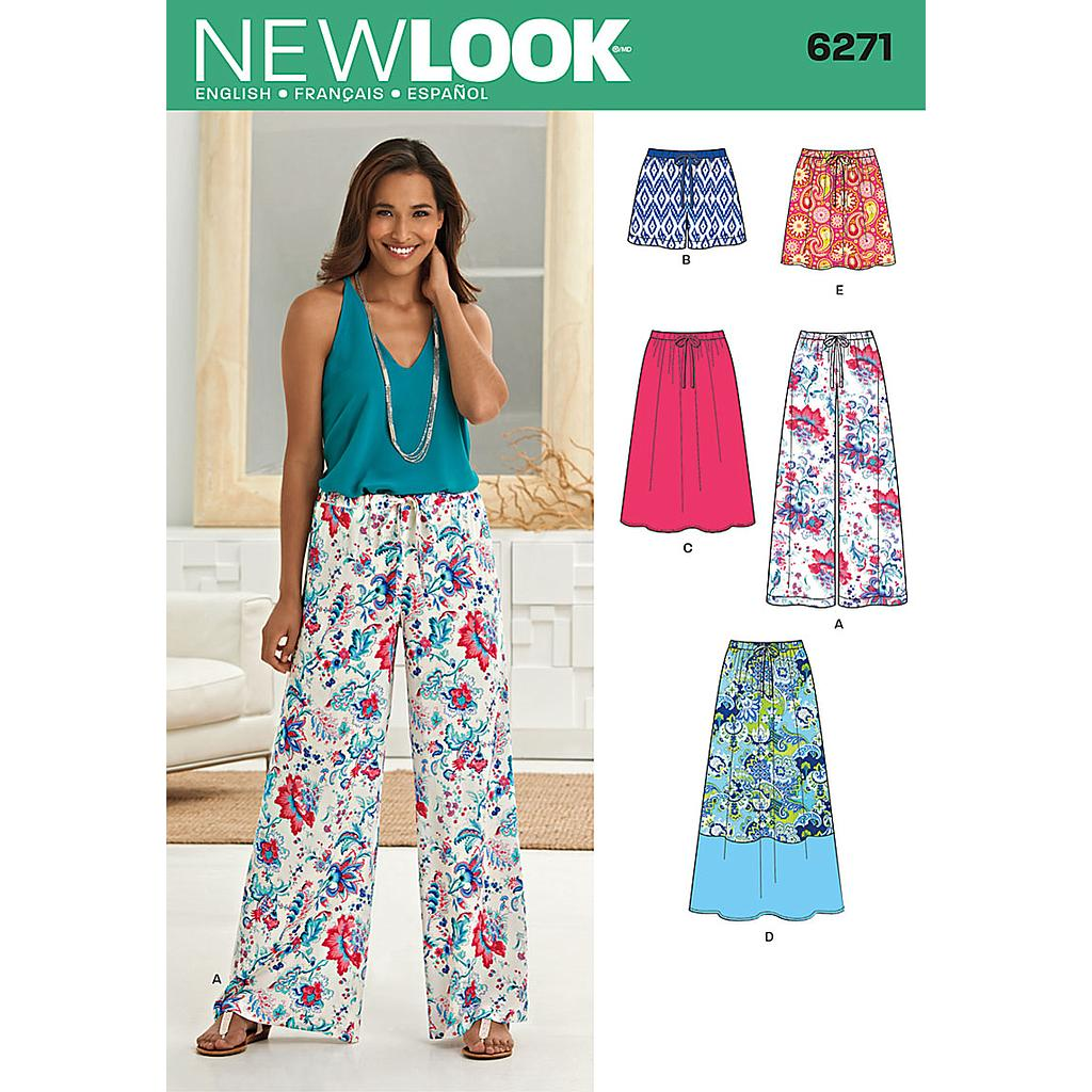 Patron New Look 6271 Jupe, short et pantalon