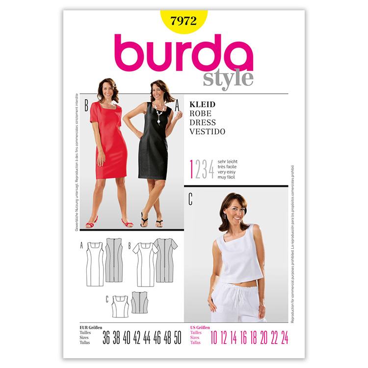 Patron Burda 7972 Robe