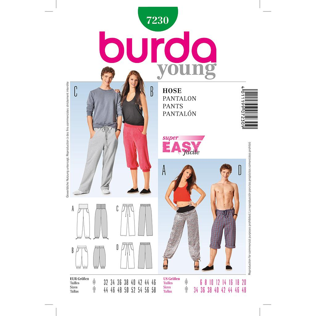 Patron Burda 7230 Young Pantalon