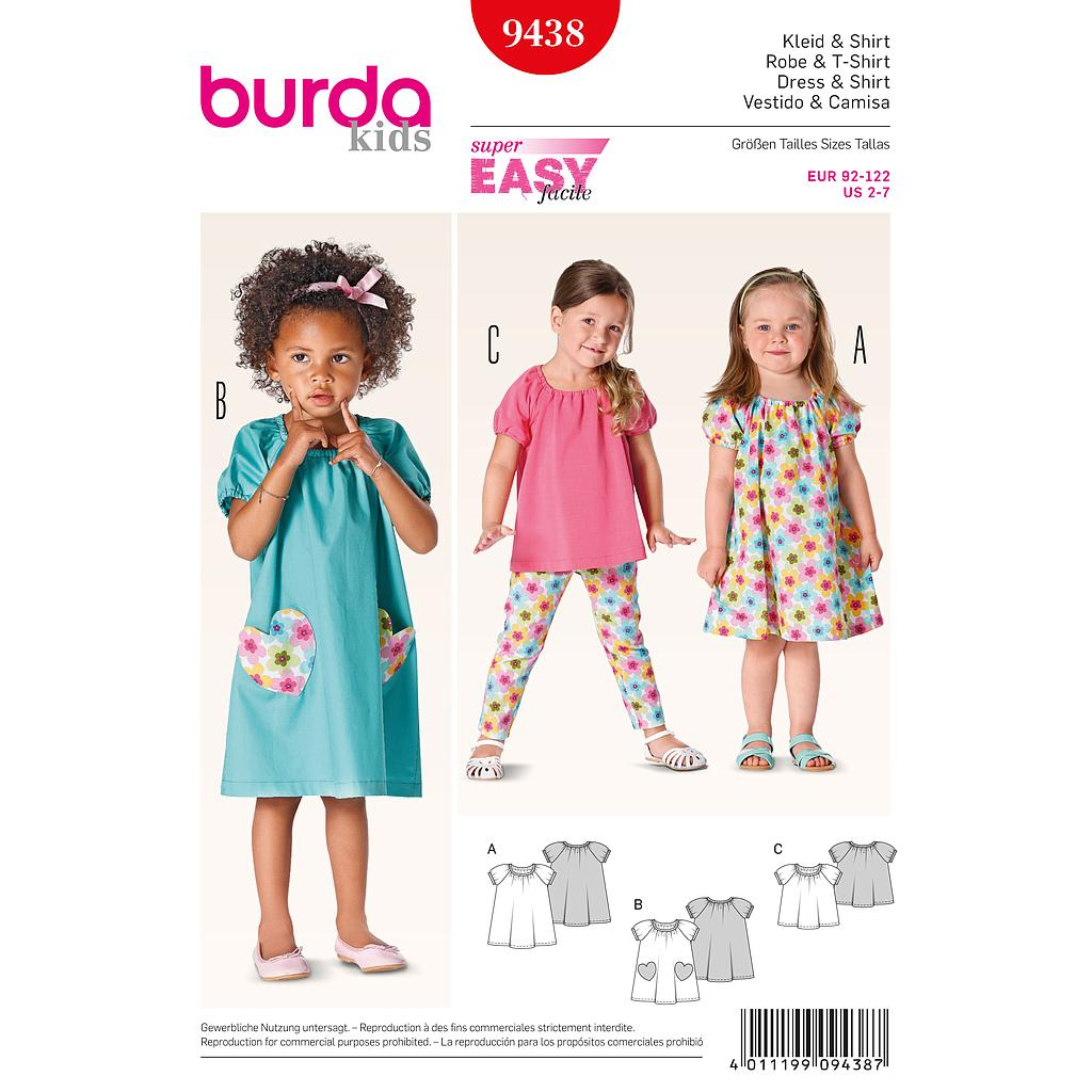 Patron Burda 9438 Kids Robe et t-shirt